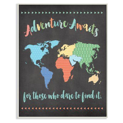 The Kids Room by Stupell Adventure Awaits World Map Wall Plaque Art
