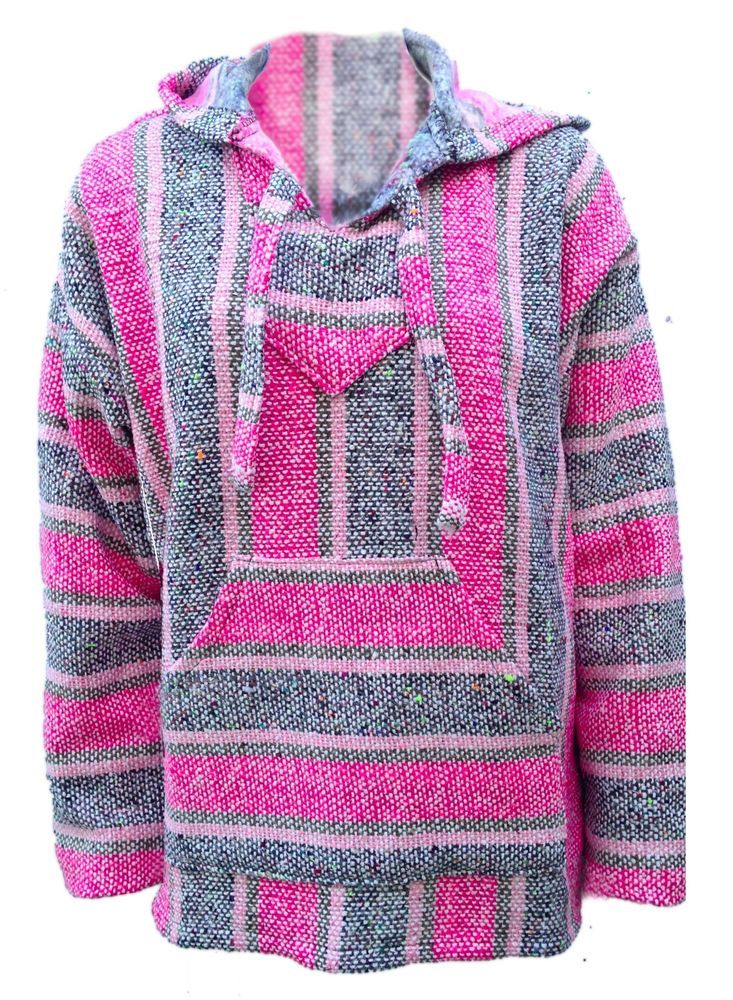 231257b1fa Baja Hoodie Surfer Mexican Poncho   FREE SHIPPING   Light Pink Heather Gry  SMALL  Hoodie