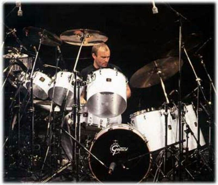 Phil Collins and his famous Left-handed Gretsch kit with the