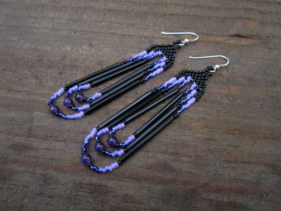 Amethyst Seed Beaded Earrings - Black Violet Lavender - Hand Made in USA