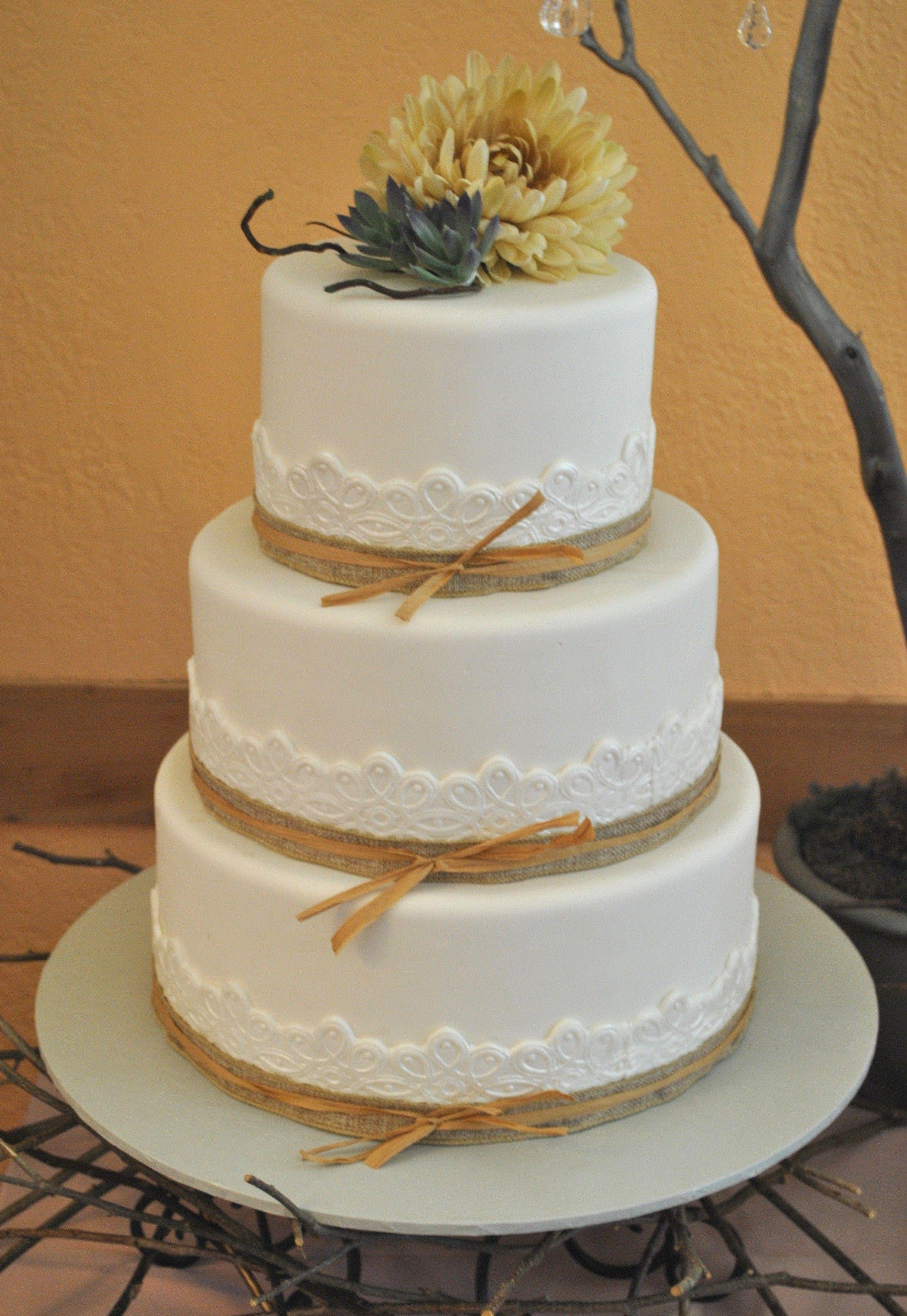 Burlap Lace Wedding Cake By The Cake Zone Www Thecakezone Com