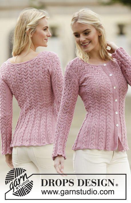 Gestrickte Drops Jacke In Muskat Oder Belle Mit Lochmuster Grosse S Xxxl Drops Design Sweatermonstre Toj