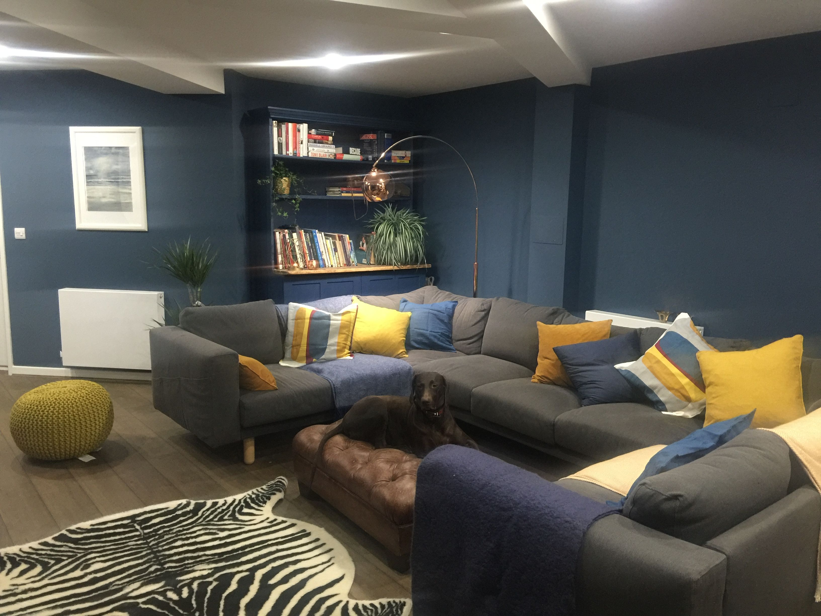Farrow And Ball Stiffkey Blue Living Room With Mustard Colour Pops Blue Walls Living Room Mustard Living Rooms Blue And Mustard Living Room