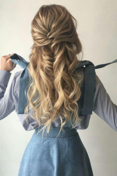 Fishtail Braid Half Up Hairstyle Hair Inspiration Curly Hair