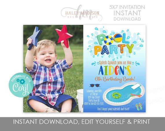 Boy Pool Party Invitation, Summer pool party invitation, Splash water party invitation, Swim party invitation EDITABLE FILE #summerpoolparties
