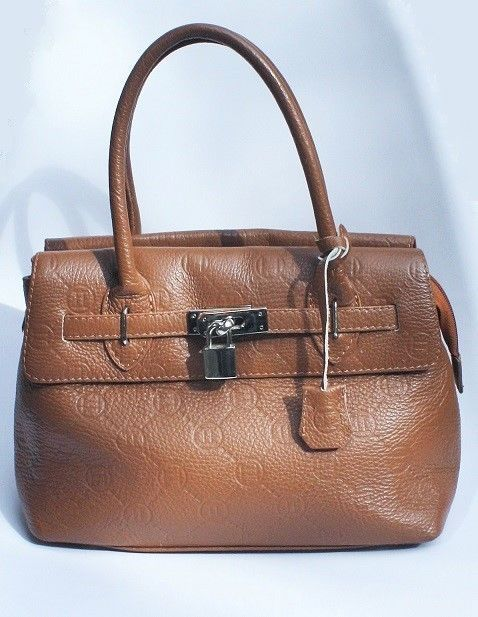 Italian Handbag BORSE IN PELLE PADLOCK SATCHEL Brown Leather Made in Italy  Purse  BORSEINPELLE  Satchel 69618e23746