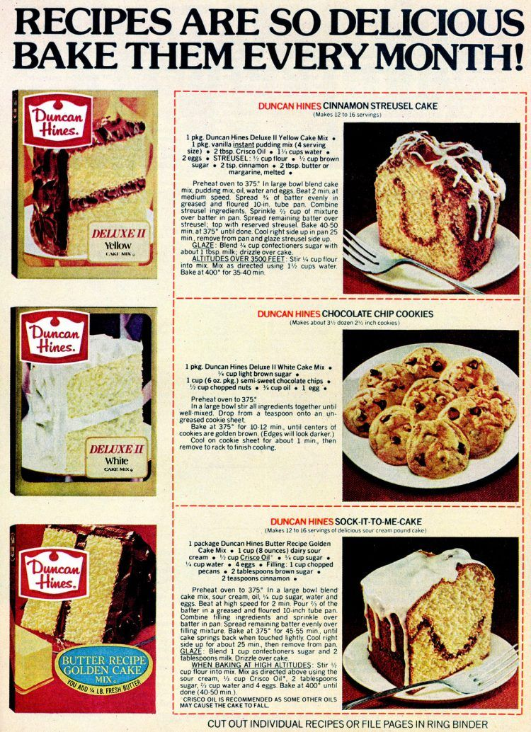 6 Dessert Recipes Made With Duncan Hines Cake Mix 1978 Recipe In 2020 Cake Mix Cake Mix Chocolate Chip Cookies Cinnamon Streusel Cake