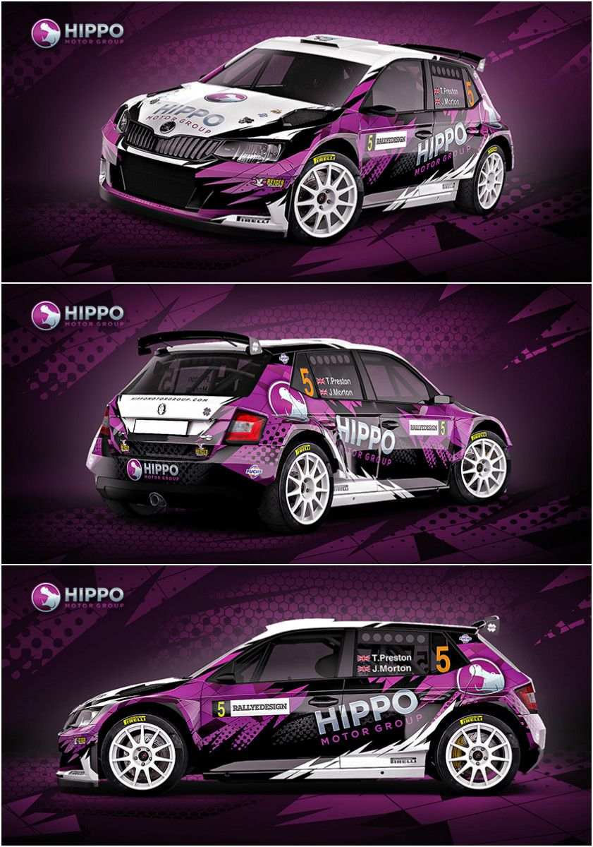 Design for Thomas Preston and Jack Morton from Hippo Rally Team, who compete in British Rally Championship with Škoda Fabia R5