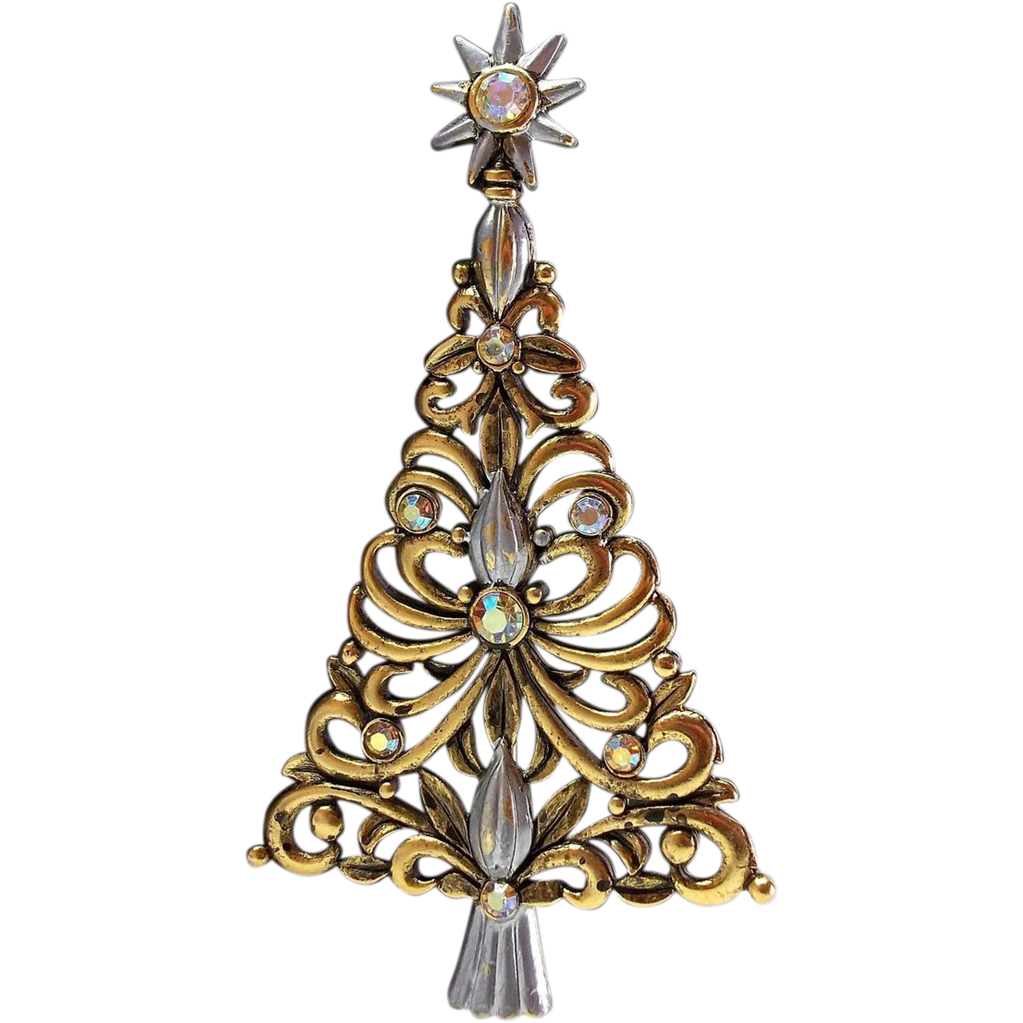 unique JJ Christmas Tree pin brooch Jonette antiqued gold tone ...