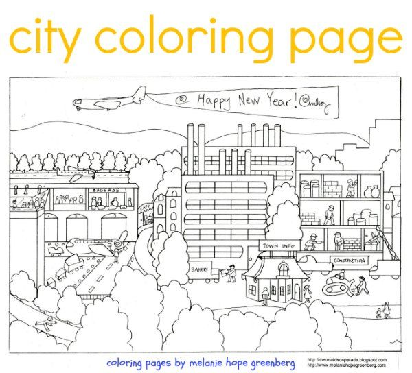 City Coloring Page Coloring Pages Adult Coloring Book Pages