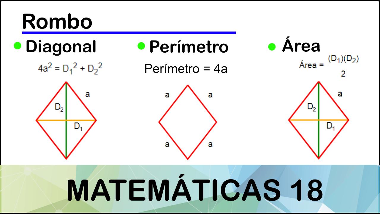 Pin De Matemáticas 18 En Geometría Calcular El Area Rombos Area De Un Rombo