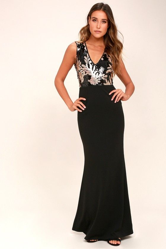 63f5e6f88dbd Gilded Glory Gold and Black Sequin Maxi Dress | Wedding-Isabel ...