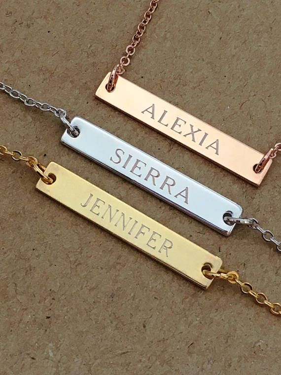f80fcc9c194847 Engraved Bar Necklace, Personalized Name Necklace, Name Plate Necklace, Custom  Bar Necklace, Rose Gold Silver Bar Necklace, Gift for Her, ...
