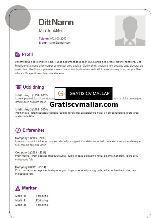 GRATIS MALL CV ARBET