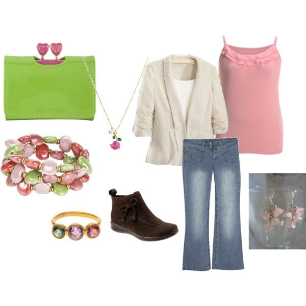 Plus Size Pink and Green Tulips Outfit
