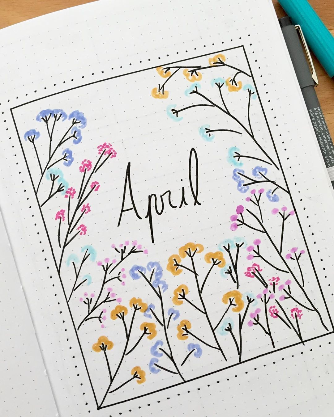 """@bujo_babee's Instagram post: """"Thats my cover page for april"""
