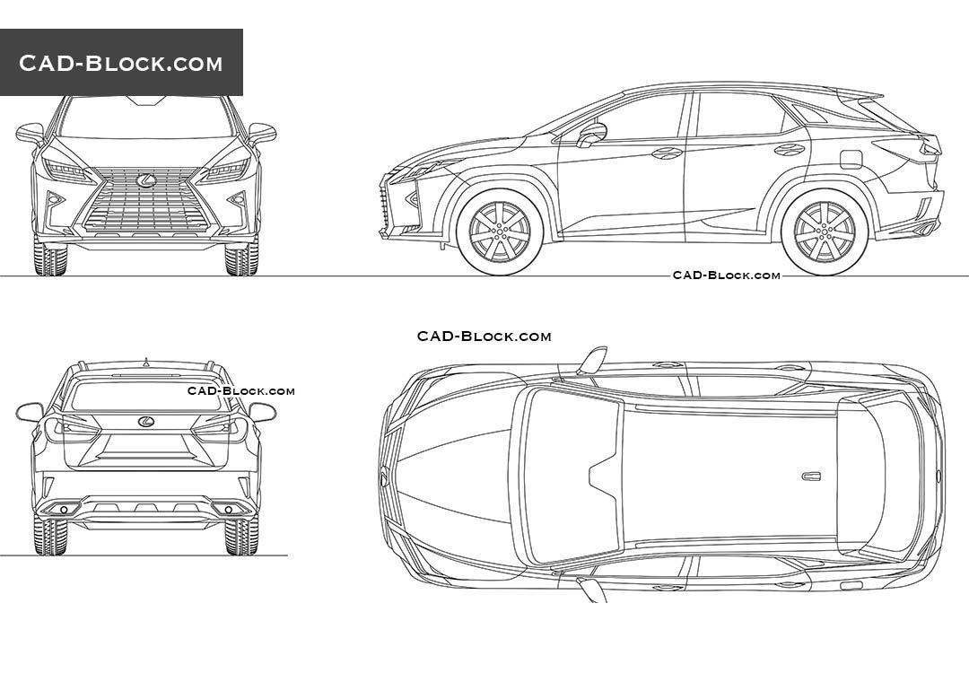 Lexus rx 350 2016 cad block vehicles pinterest - Voiture autocad ...