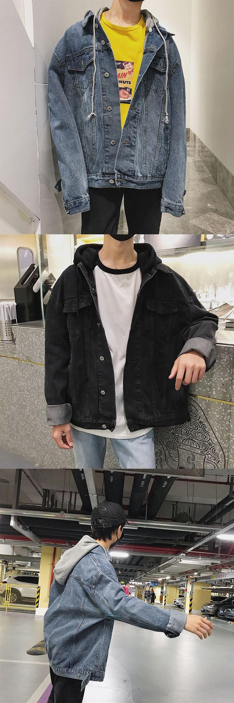 93b374807ee81 2017 Autumn Winter Loose Denim Coat Fashion Casual Hooded Outwear Retro  Clothes Baseball Motorcycle Men Jacket