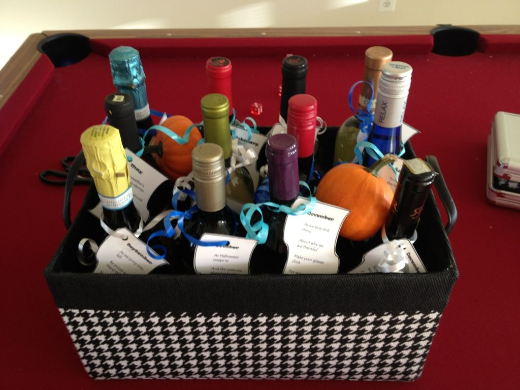 Basket Of 12 Wine Bottles One For Each Month With A Cute Poem Attached To Each Great Birthday Gift Bridal Survival Kit Clever Gift Homemade Gifts