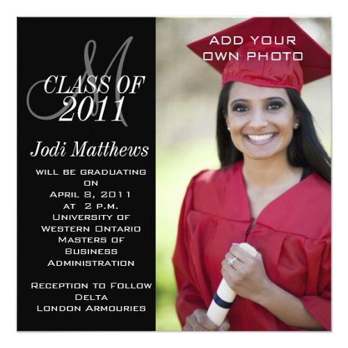 Graduation invitations monogram photo monograms and photos graduation invitations monogram photo filmwisefo Images