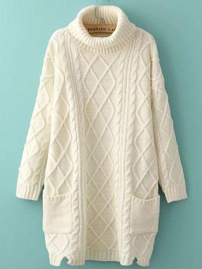 1352dcf003e White (also brown) Turtleneck Side Slit Pocket Cable Knit Sweater Dress  ONE-SIZE Shoulder(Cm)  56cm Bust(Cm)  106cm Length(Cm)  80cm Sleeve  Length(Cm)  42cm