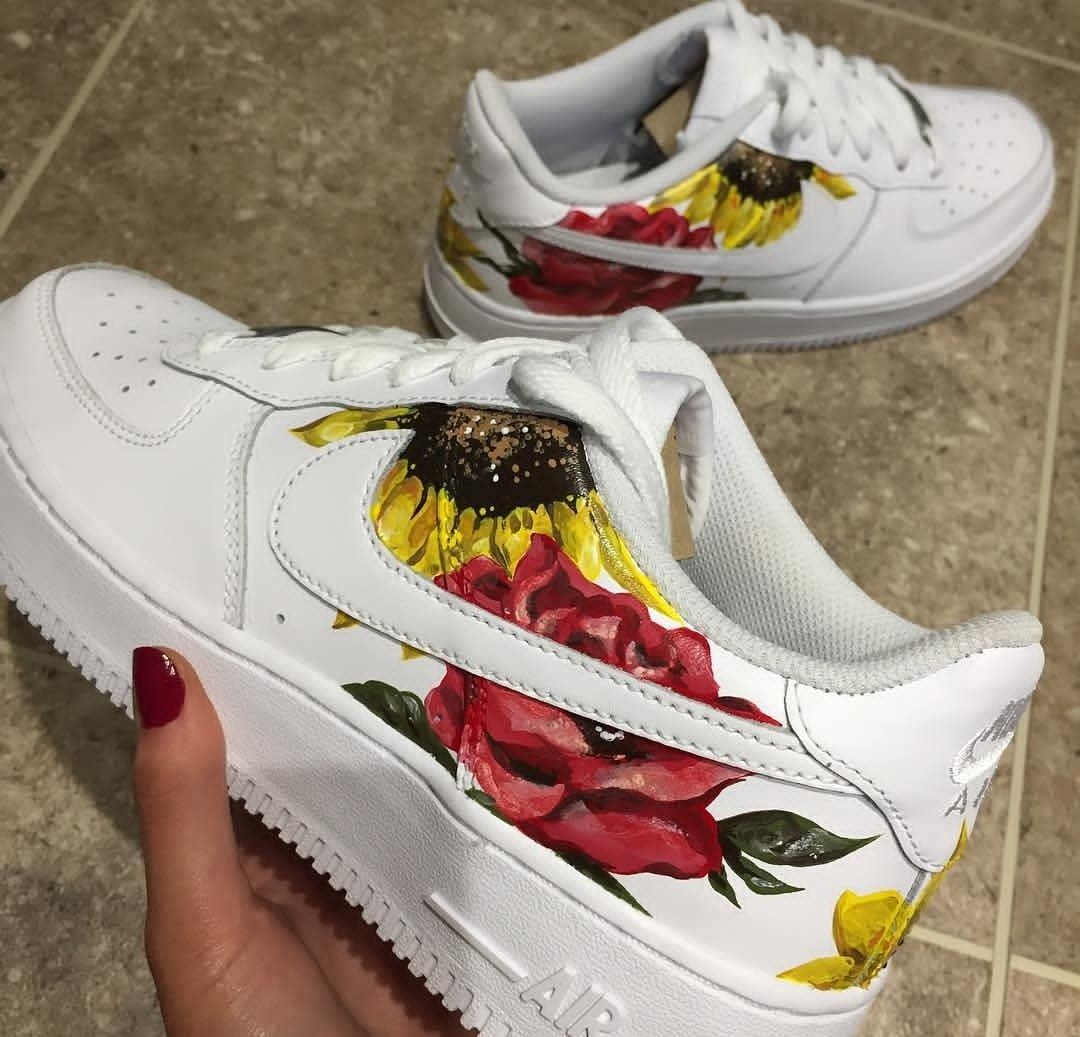 ceb15b23f182 Do you like floral prints on your sneakers  Custom painted nike air force  one sneakers