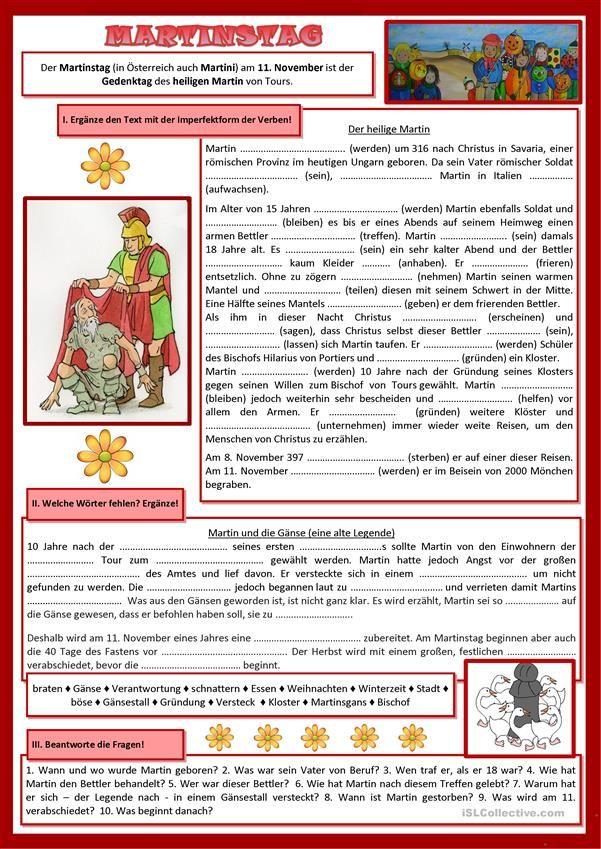 Martinstag 1. | Weihnachten (Deutsch für Kinder) | Pinterest ...