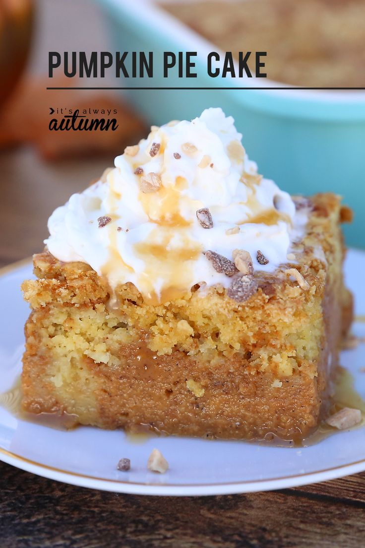 - Pumpkin Pie Cake  Pumpkin pie cake will be your new favorite pumpkin recipe! Pumpkin pie swirled with buttery cake crumbles – even people who don't like pumpkin pie love this recipe! Plus it feeds a crowd.