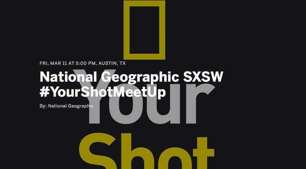 National Geographic #YourShotMeetUp | Free photowalk led by Patrick Witty, Nat Geo's Deputy Director for Photography | Friday, March 11, 2016 | 5-7pm | Meet at corner of W. Cesar Chavez St. and Congress Ave., Austin, TX 78701 | Free with RSVP: https://www.eventbrite.com/e/national-geographic-sxsw-yourshotmeetup-registration-22131643341