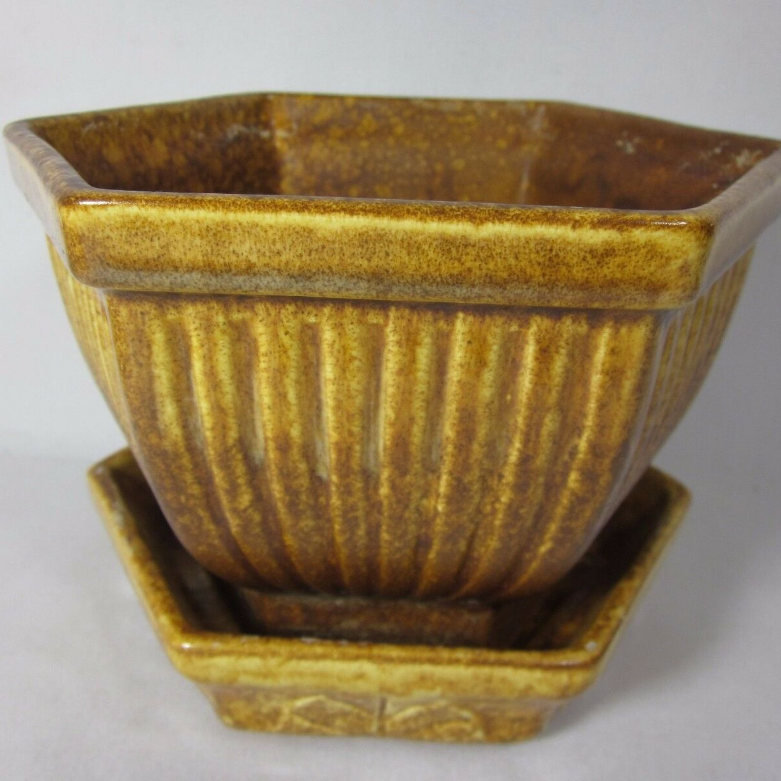 Haeger Pottery Brown Planter With Base 892 893 Made In Usa Pottery Planters Vintage Pottery