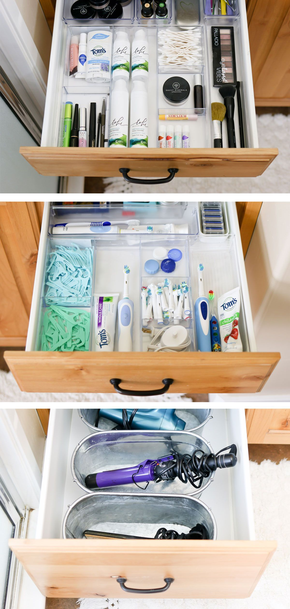 Supplies, tips and ideas for organizing bathroom drawers and cupboards. #bathroom #bathroomorganization #organization #organizing #organizingbathroom #homeorganization #camitidbits #tidbits #organizingsupplies
