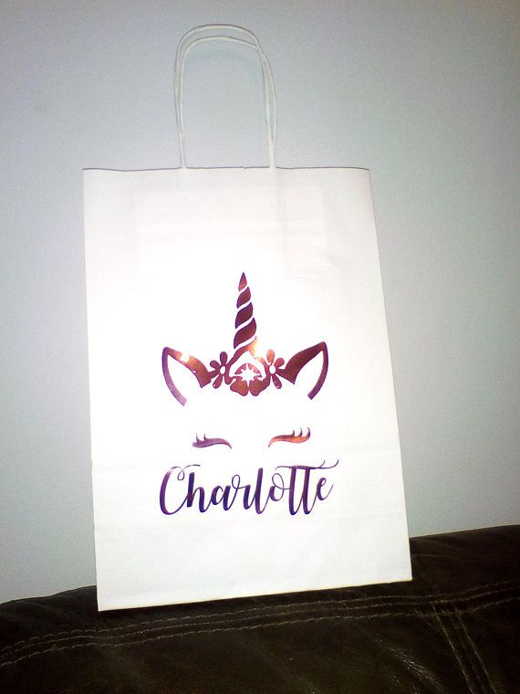 Metallic Vinyl ROSE GOLD Custom Personalised Birthday Wedding Gift Bag Flower Girl Keepsake White Paper