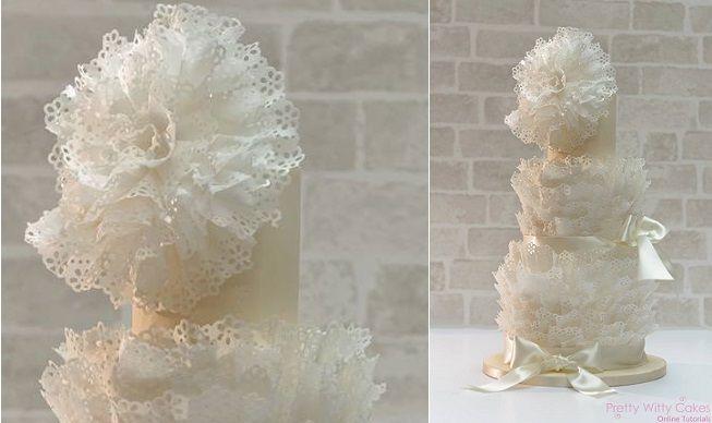 eyelet lace wafer paper ruffle wedding cake tutorial by Makiko Searle