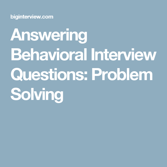 problem solving interview answers
