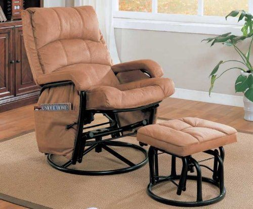 Strange Tan Microfiber Glider Rocker W Ottoman Coaster 650005 By Ibusinesslaw Wood Chair Design Ideas Ibusinesslaworg