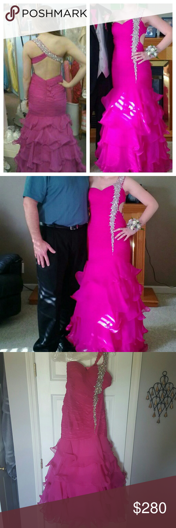 Pink Prom Dress Super cute, open back. Really stunning when walking around in it due to all the ruffles on the bottom! Loved wearing it!! Partytime Dresses Prom