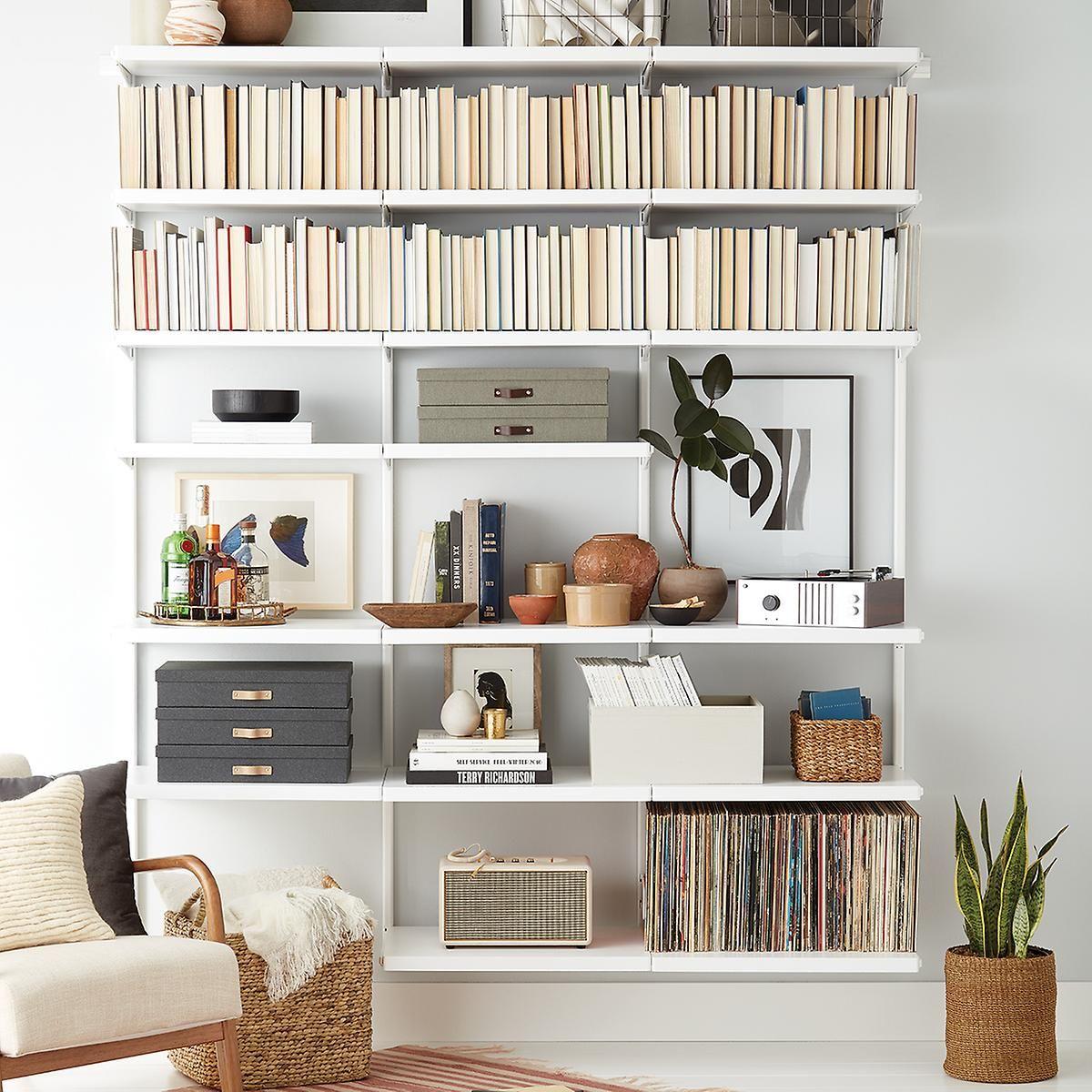 Elfa Decor 6 Bookshelf Shelving Track Shelving Bookshelves