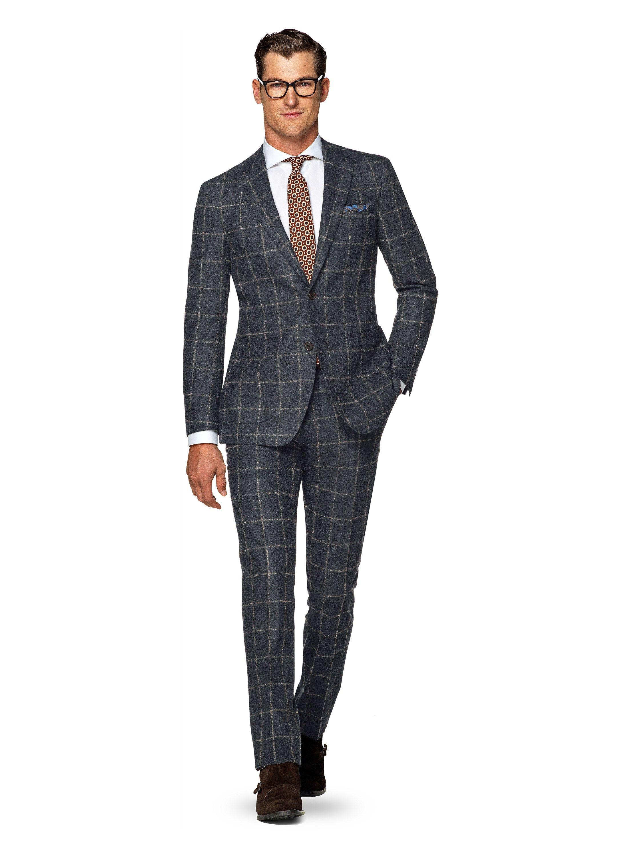 Wonderbaar Suit Grey Check Havana P4959i   Suitsupply Online Store   Dress KU-08
