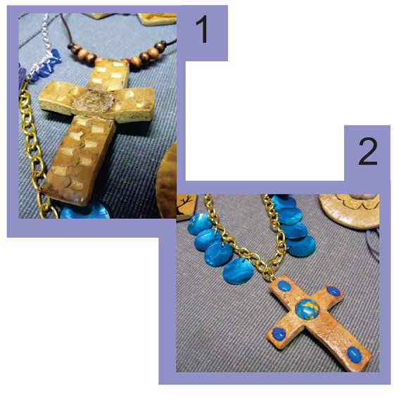 Cross Pendants made from Gourds! For sale on Etsy.