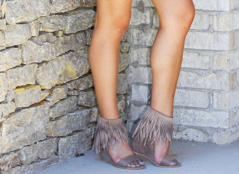 Fringe Trim Wedge Sandals
