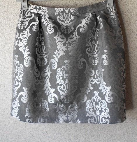 Silver Gray Brocade Handmade Mini Skirt / La Mini Jupe by BlumArt