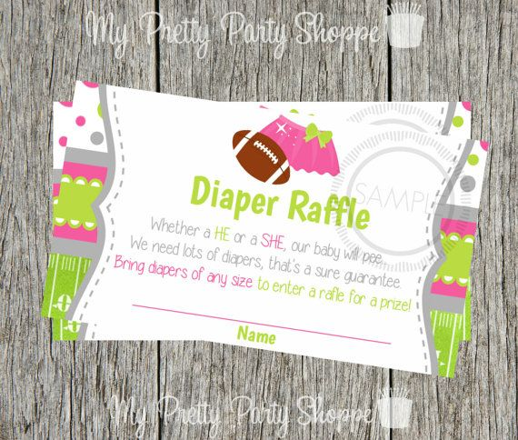 printable gender reveal diaper raffle cards touchdowns or tutu s