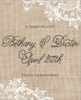 Designed these wine labels for Bethany's wedding! Vintage Burlap labels in mocha. #evermine
