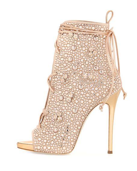 a6f12a21e5321 Lynda Crystal Open-Toe 120mm Bootie | Shoes I want | Giuseppe shoes ...