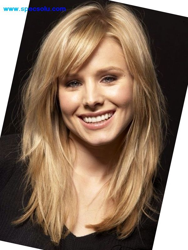 long layered hairstyles with textured side swept bangs for