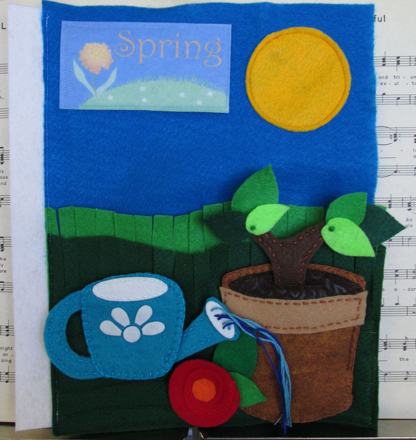 spring quiet book page 1500 via etsy really like the watering can with colorful fishbook - Colorful Fish Book