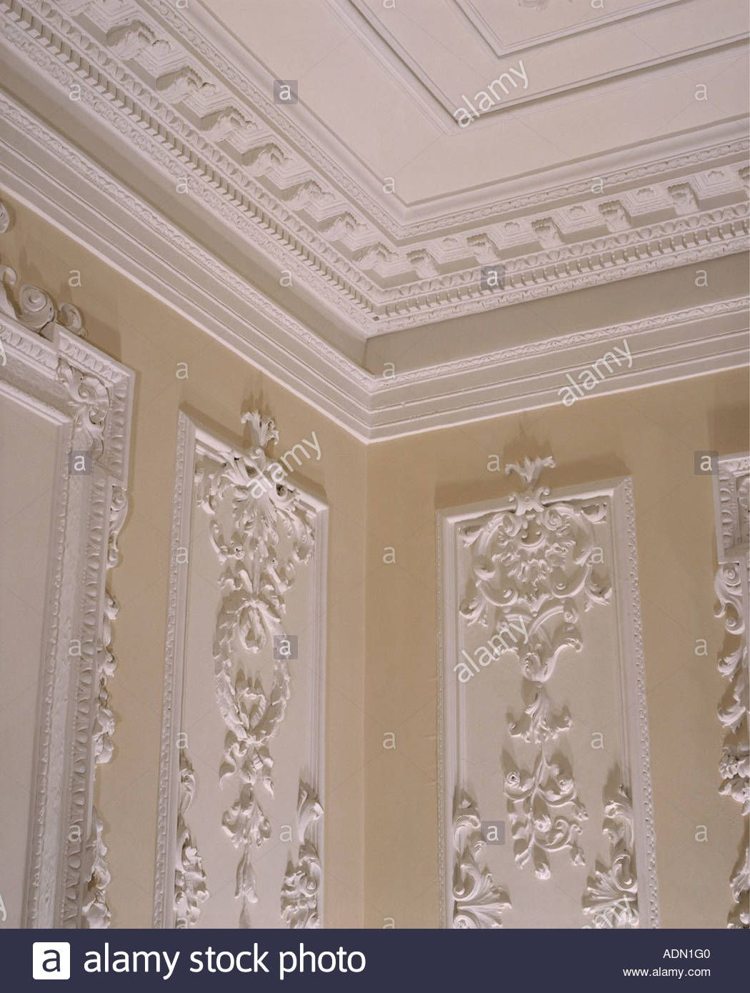 79fb35681 Close-up of plasterwork cornice and ceiling above walls with ornate  plasterwork panels Stock Photo