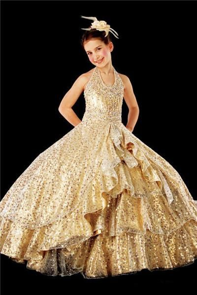 Sparkly Gold Sequin Glitter Girls Pageant Dresses Teens Children Party  Birthday Dresses For Formal Occasion Kids Princess Prom Ball Gowns Special  Occasion ... cd3e1cf378ba