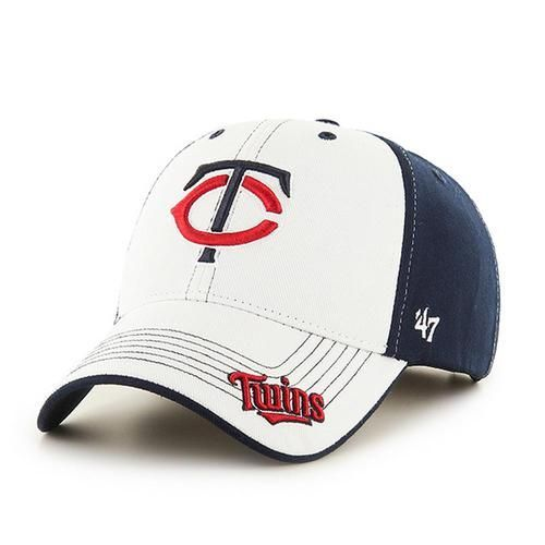 minnesota twins 47 brand revolution mvp kids hat. this 100 cotton twill cap features a raised embroidered twins logo proudly displayed front and cente