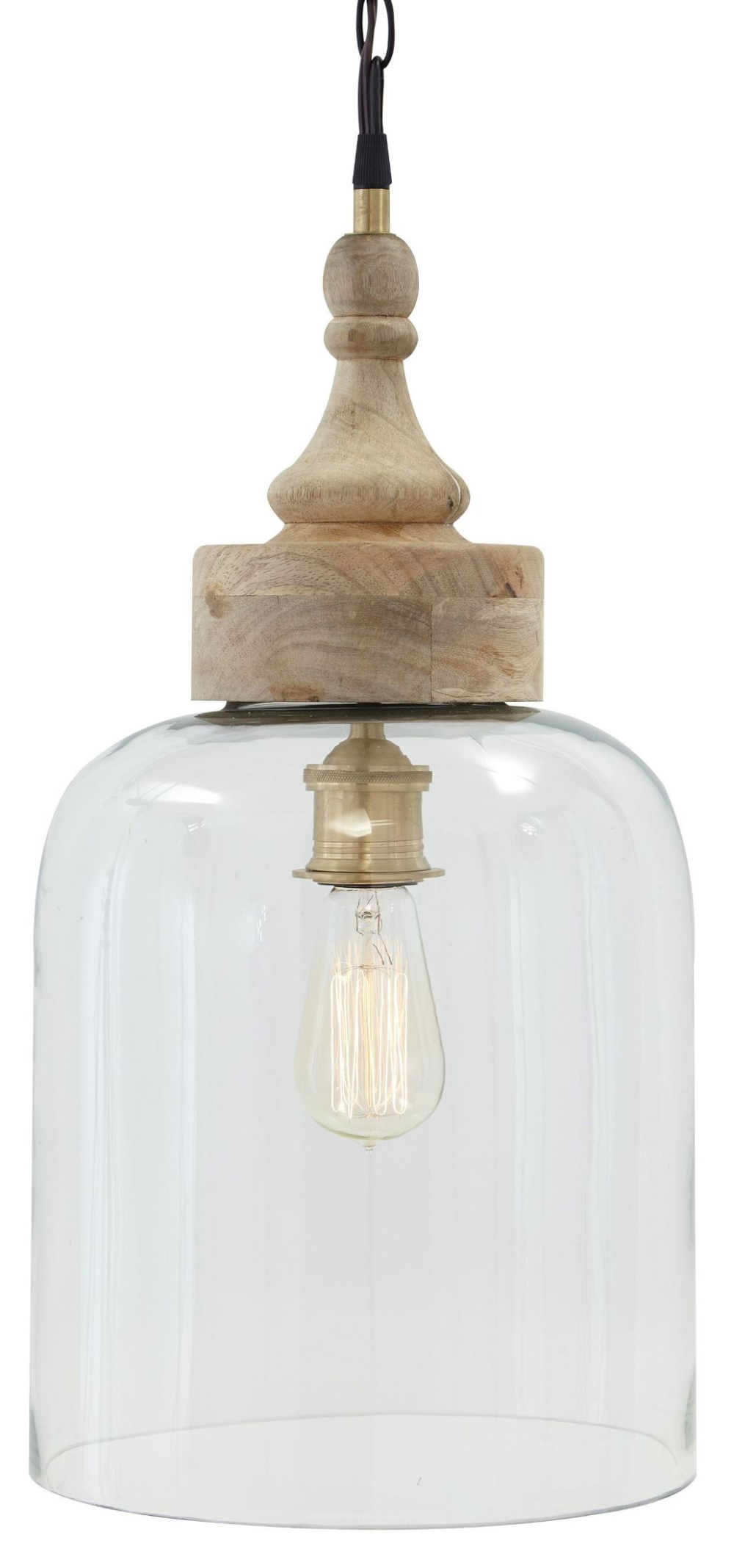 Glass And Natural Wood Pendant Light from Ashley (L000148) | Coleman Furniture